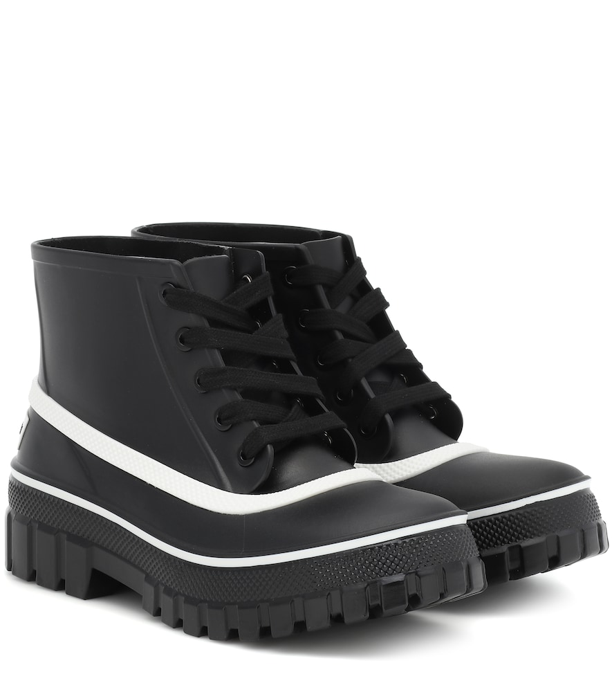 Givenchy Glaston Logo-Print Rubber Ankle Boots In 001 Black