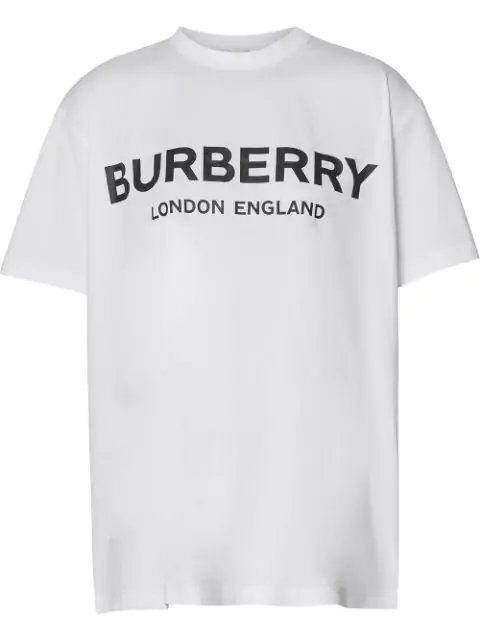 Burberry Oversize Logo Print Cotton Jersey T-Shirt In A1464 White