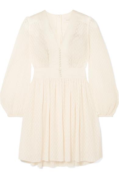 Zimmermann Linen-Trimmed PlissÉ-Jacquard Mini Dress In White