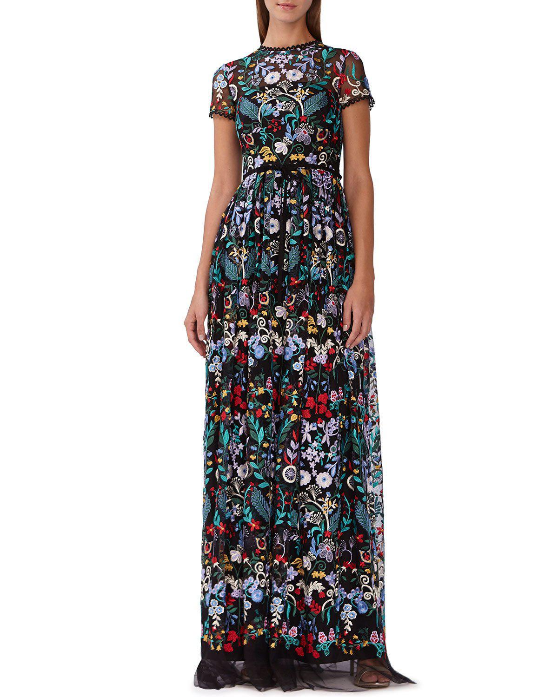 62730d50eae Ml Monique Lhuillier Floral-Embroidered Mesh Maxi Dress