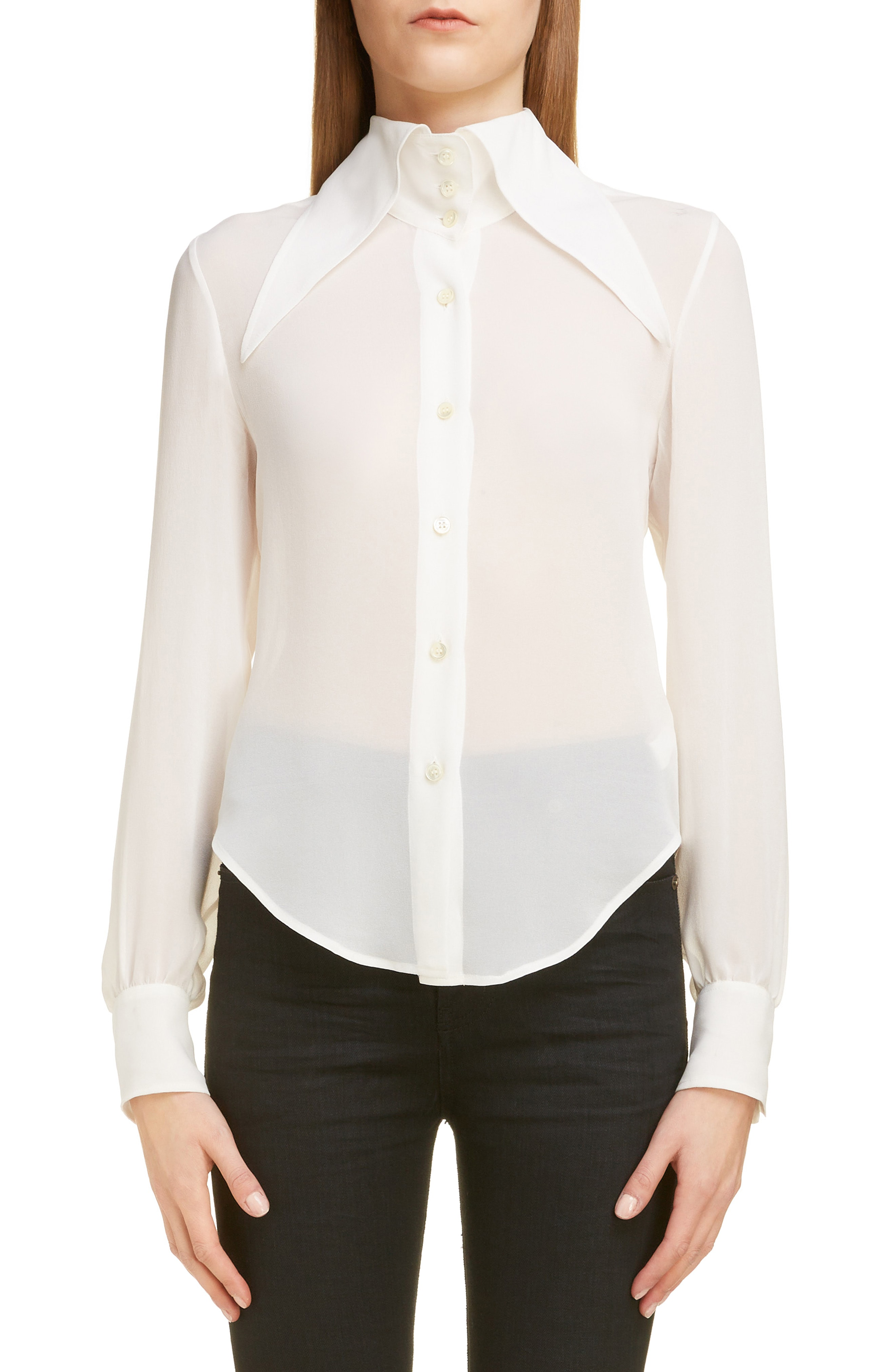 a45f7e333 Saint Laurent Oversized Collar Sheer Silk Button-Down Blouse In Cream