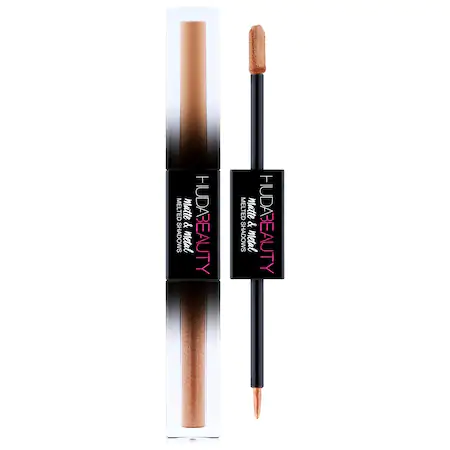 Huda Beauty Matte & Metal Melted Double Ended Liquid Eyeshadows Double-pump Latte (tan Matte), Drop Top (golden