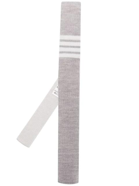 Thom Browne Knitted Tie With Stripe Detail - 灰色 In Dark Grey 025