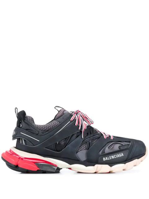 Balenciaga Low-top Sneakers Track Fabric Mix Logo Black Grey Red In 1002 Black