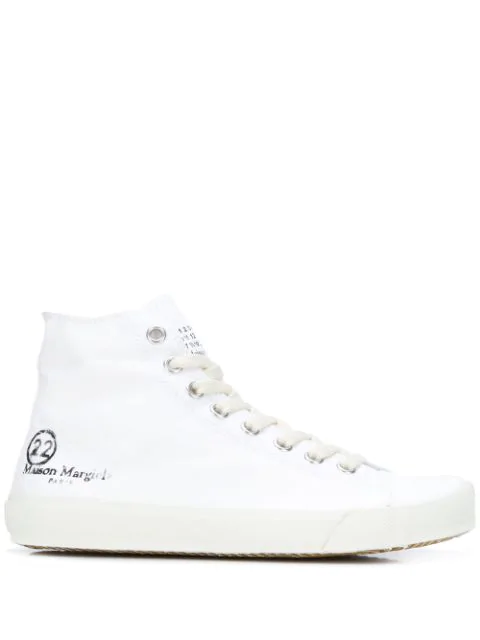 Maison Margiela Tabi Canvas High-top Sneakers In White