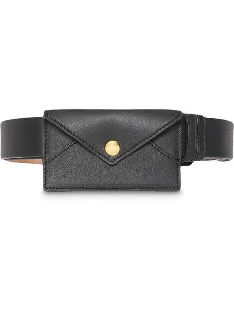 Burberry Envelope Detail Leather Belt In Black