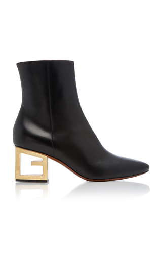Givenchy Triangle Leather Ankle Boots With G Heel In Black