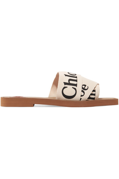 Chloé 'woody' Logo Print Strap Canvas Sandals In White