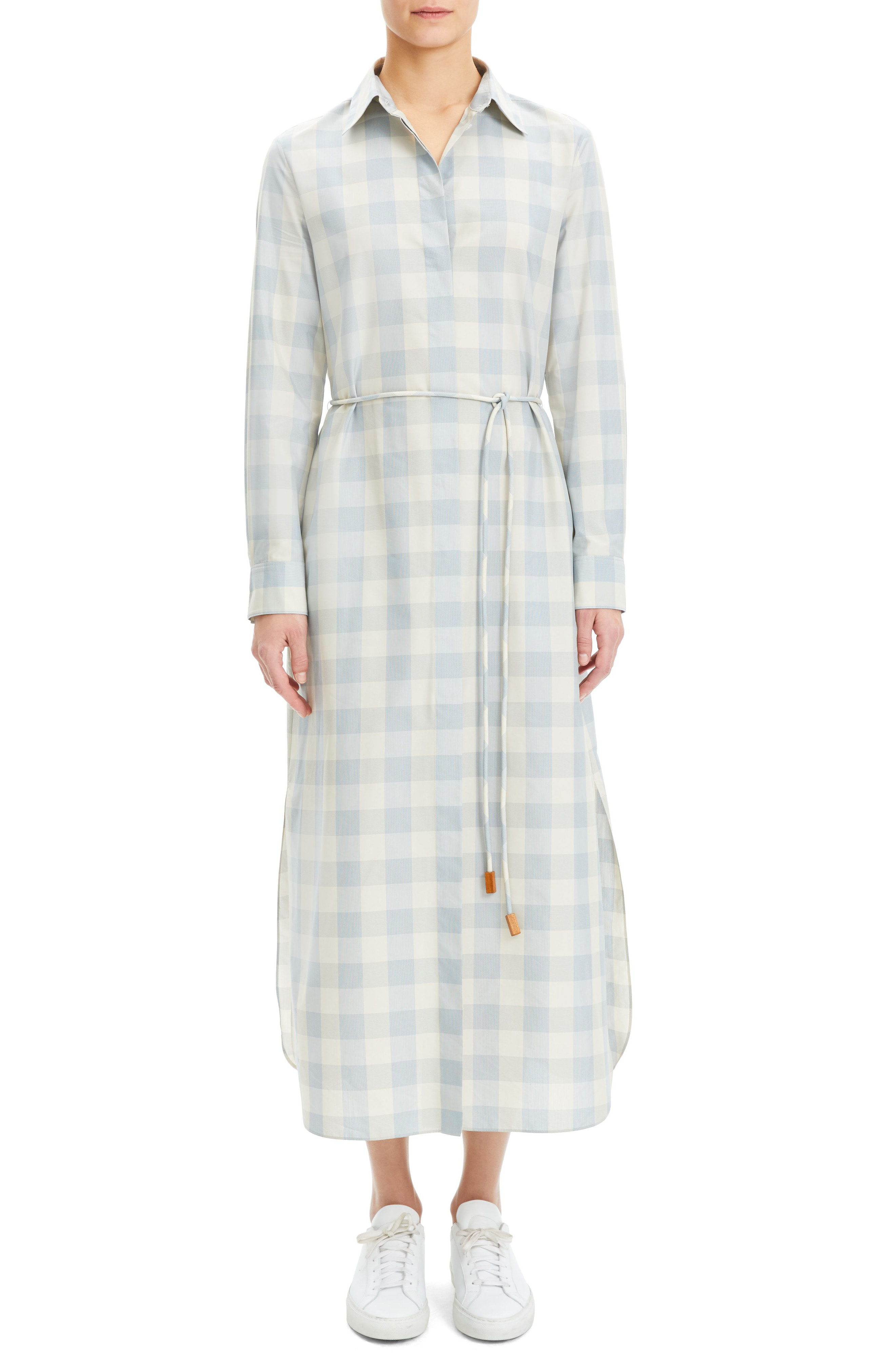d3e4fb2ca1 Theory Plaid Waist-Tie Button Down Ankle Shirtdress In Blue | ModeSens