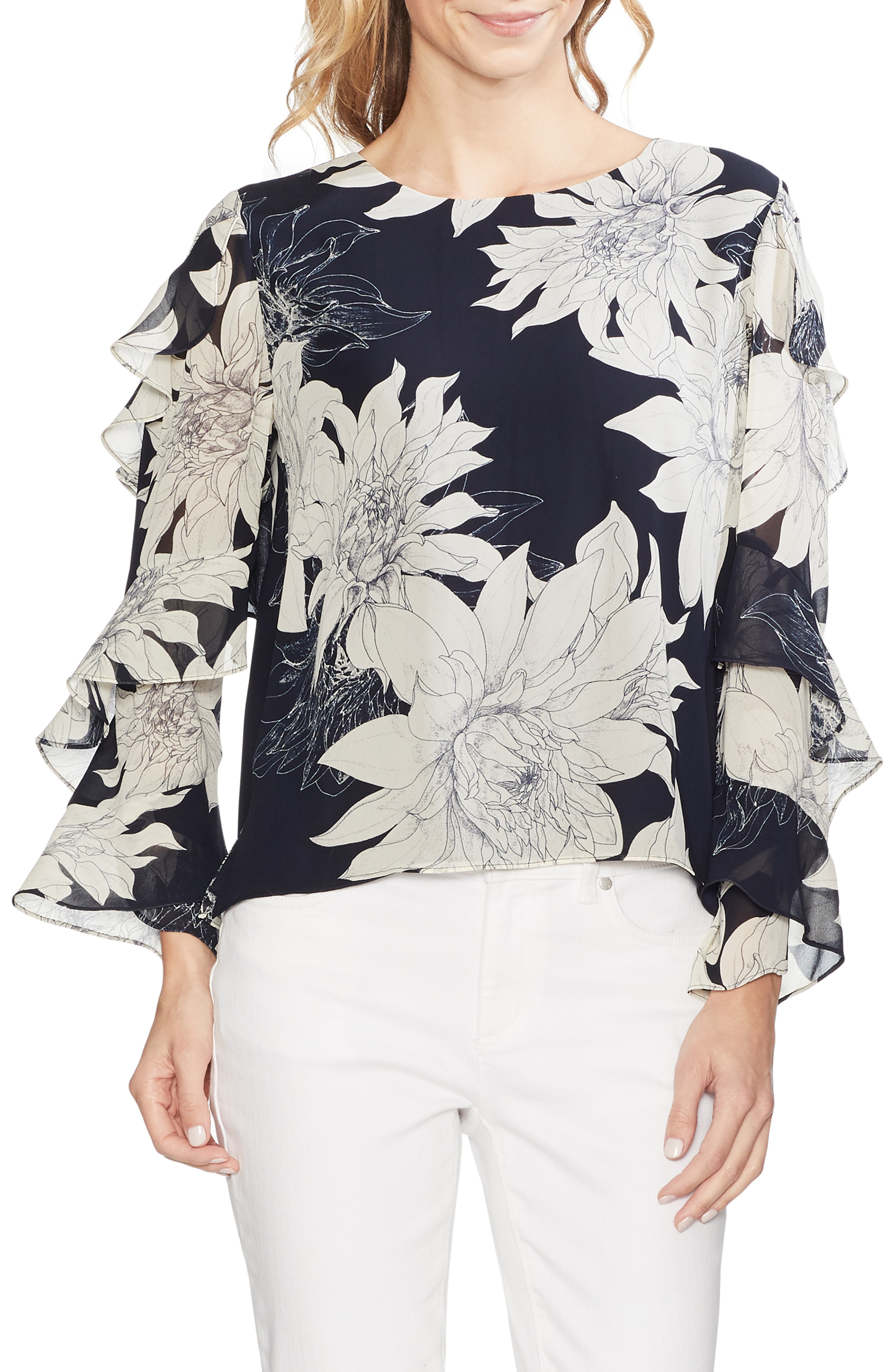 8db83ee49e Vince Camuto Pagoda Blossoms Tiered Ruffle Sleeve Blouse In Classic Navy