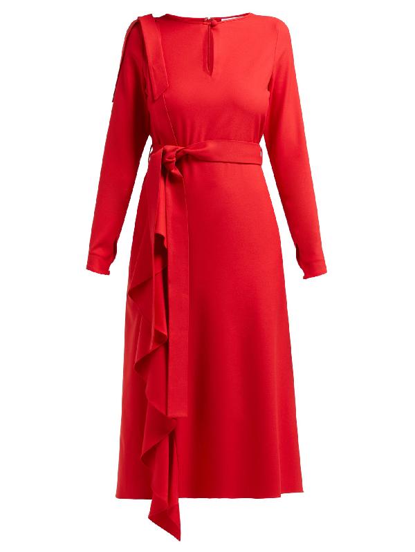 Osman Ellen Draped Crepe Dress In Red