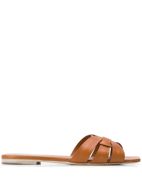 Saint Laurent Tribute Flat Sandals In Smooth Leather In Brown
