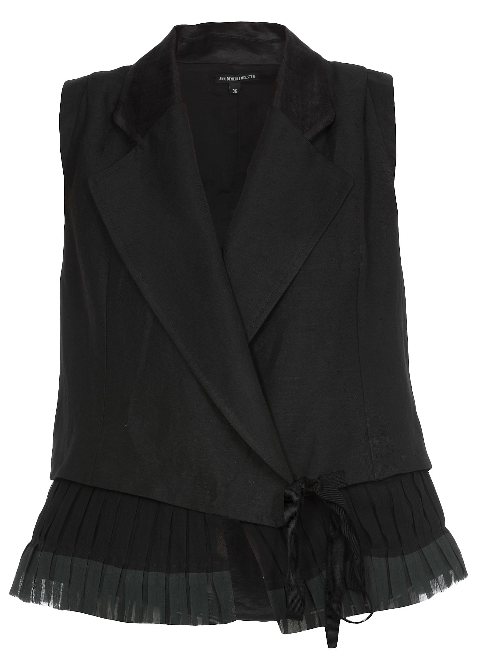 Ann Demeulemeester Silk And Linen Waistcoat In Francis Black + Mercure Beetle