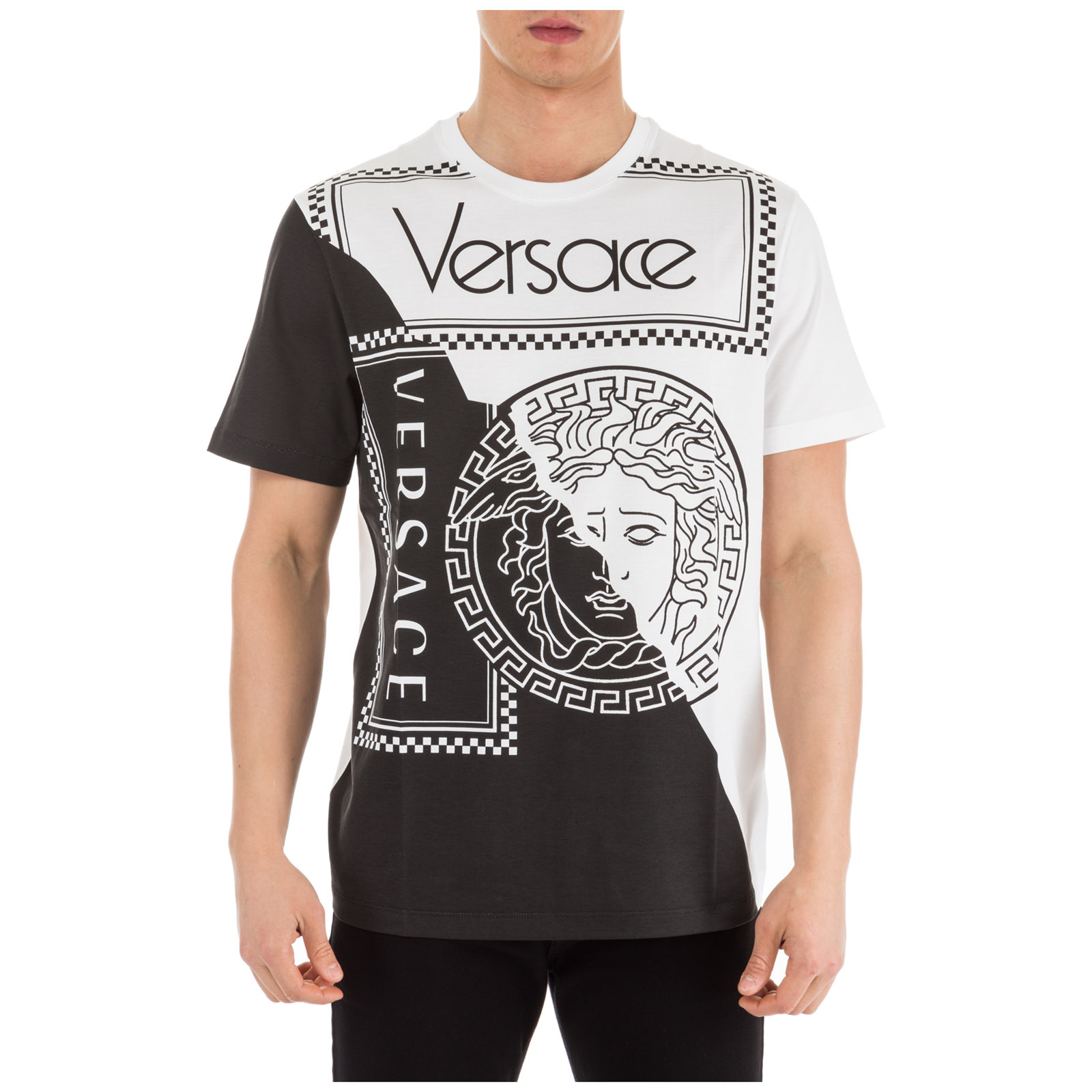 1b8447aca9c57e Versace Men s Colorblock Medusa Logo Graphic T-Shirt