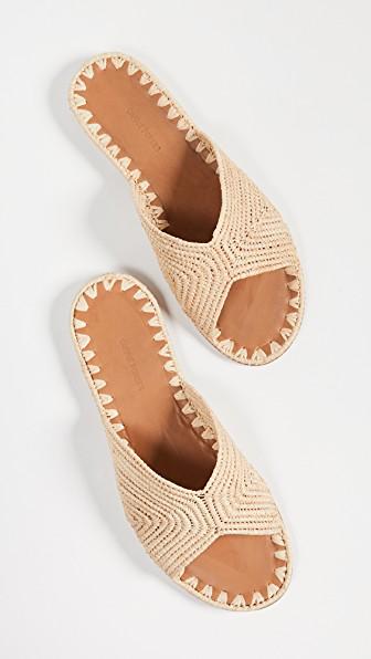 Carrie Forbes Salon Raffia Slide Sandals In Beige