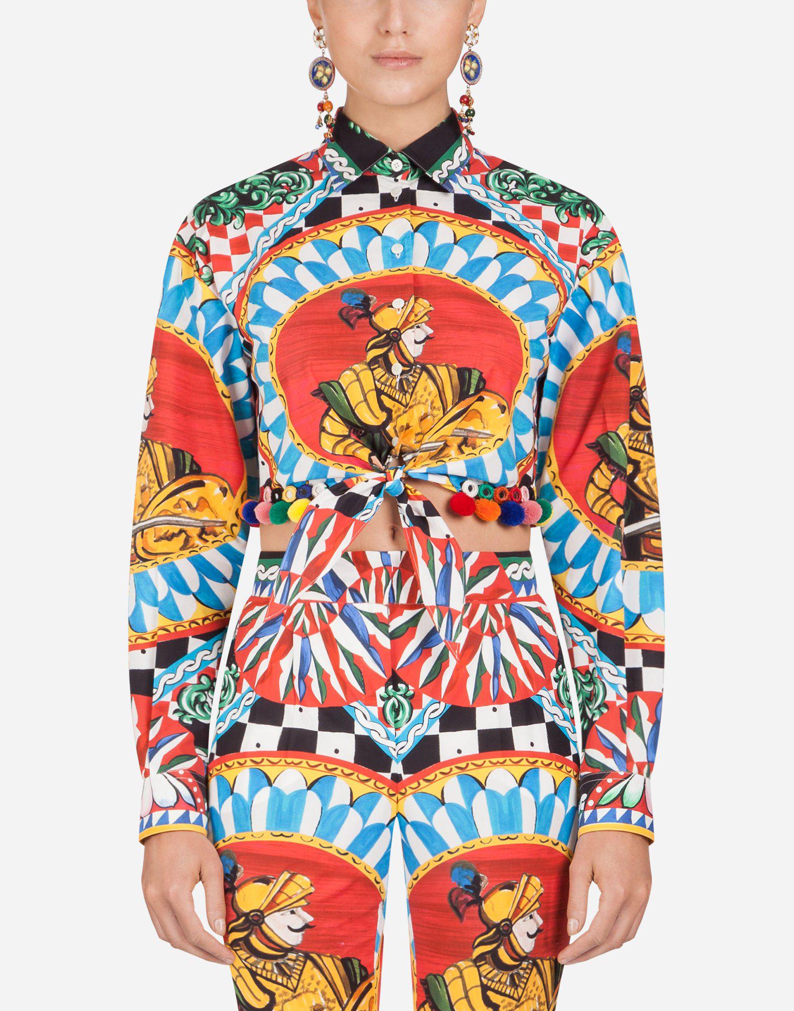 Dolce & Gabbana Sicilian Carretto Print Cotton Shirt In Red