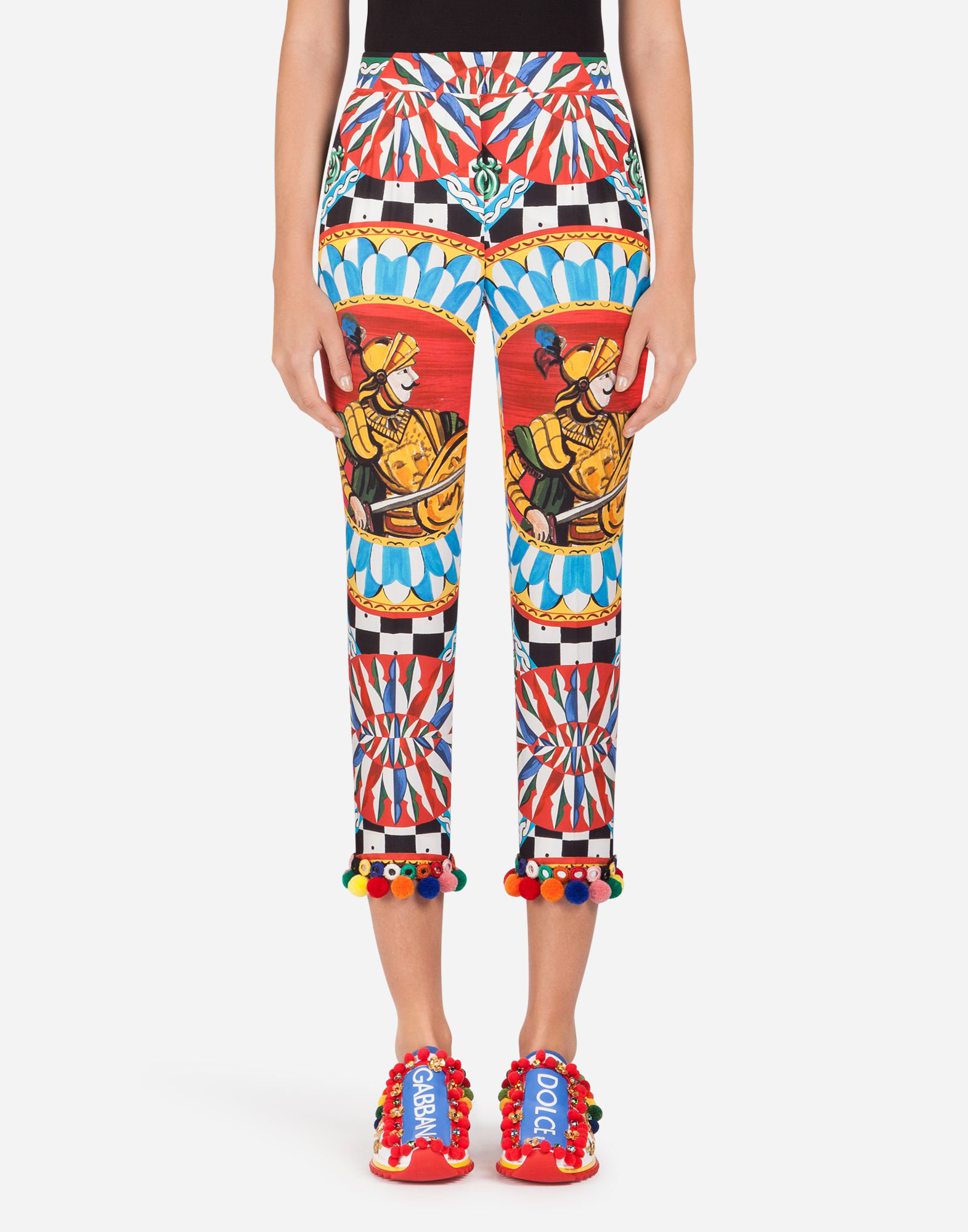 Dolce & Gabbana Cotton Pants With Sicilian Carretto Print In Red