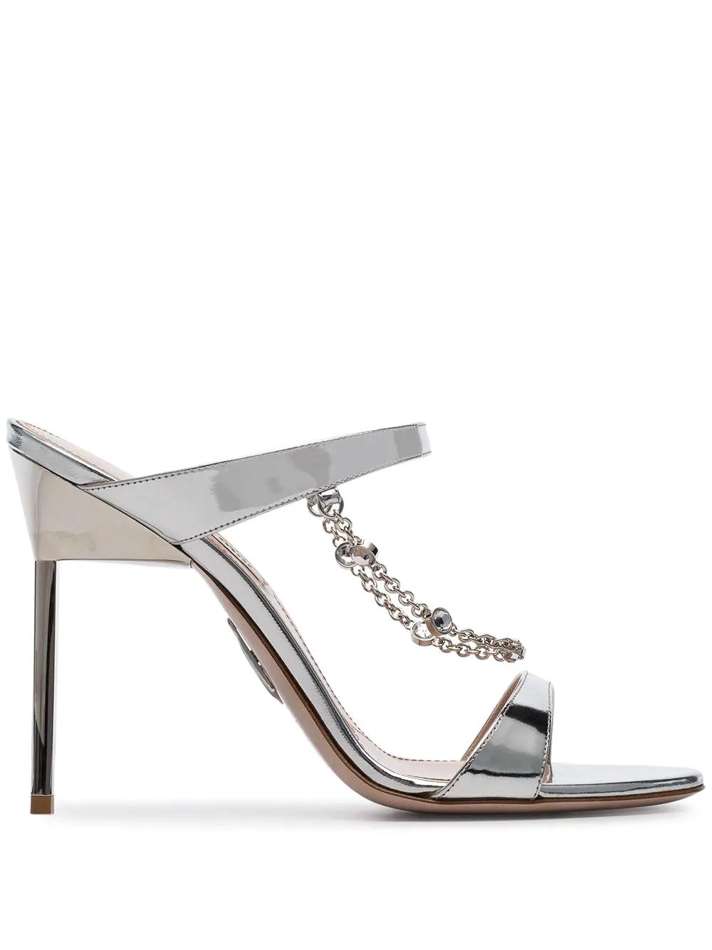 6fbd31f58b01 Miu Miu Embellished Metallic Sandals - Silver