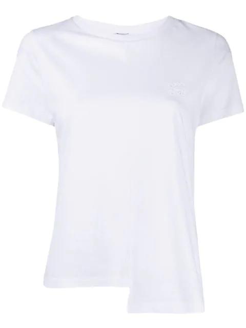 Loewe White Women's Asymmetric Hemline Embroidered Logo T-shirt