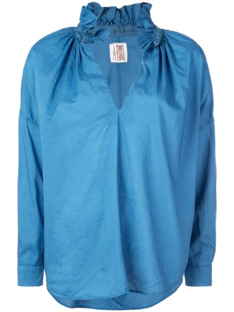 A Shirt Thing Frilled Split Neck Shirt In Blue