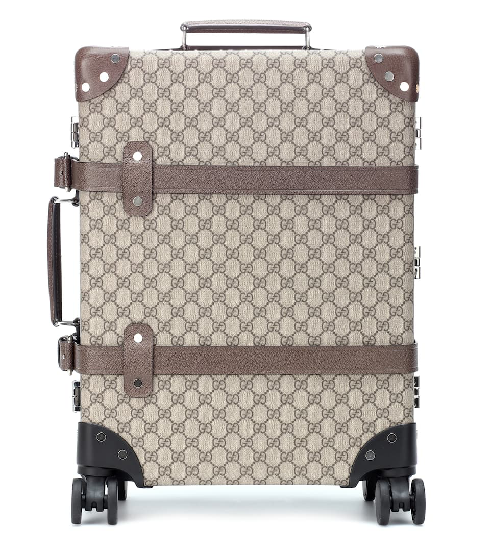 Gucci + Globe-Trotter Medium Leather-Trimmed Printed Coated-Canvas Suitcase In Beige