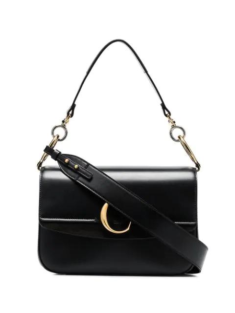 ChloÉ Chloe Small Chloe C Double Carry Bag In Black In 001 Black