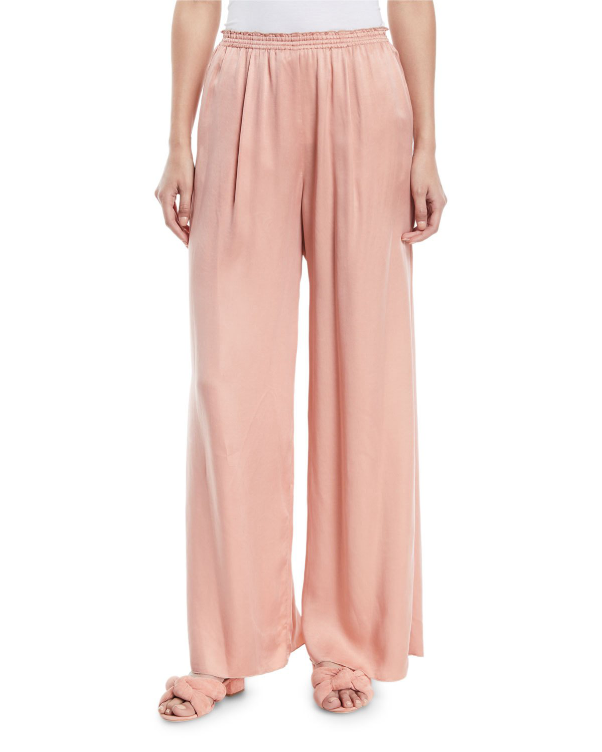 Forte Forte Wide-Leg Satin Lounge Pants In Pink