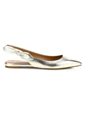 Tabitha Simmons Rise Metallic Leather Slingback Flats In Champagne