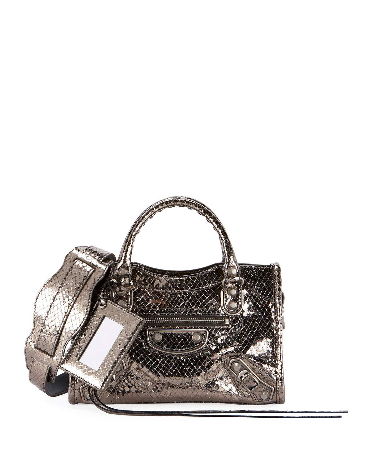 512da2053e649 Balenciaga Metallic Mini City Croc Embossed Leather Bag - Grey In Metallic  Dark Grey
