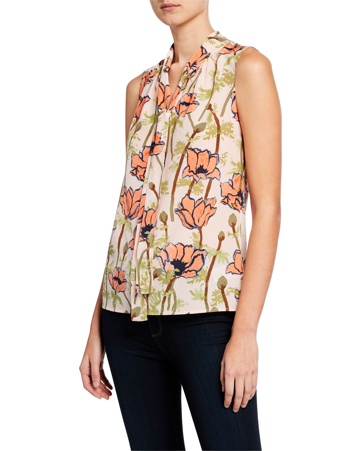 7594ffaa565817 Tory Burch Floral-Printed Sleeveless Tie-Neck Bow Blouse In Pink Poppies  Bloom