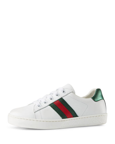Gucci New Ace Leather Tennis Shoe, Toddler/youth 10.5t-4y In White/ Green