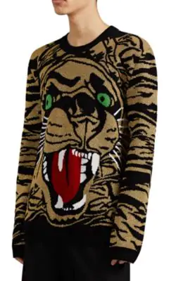 Gucci Tiger-Graphic Metallic Wool-Blend Sweater In Black