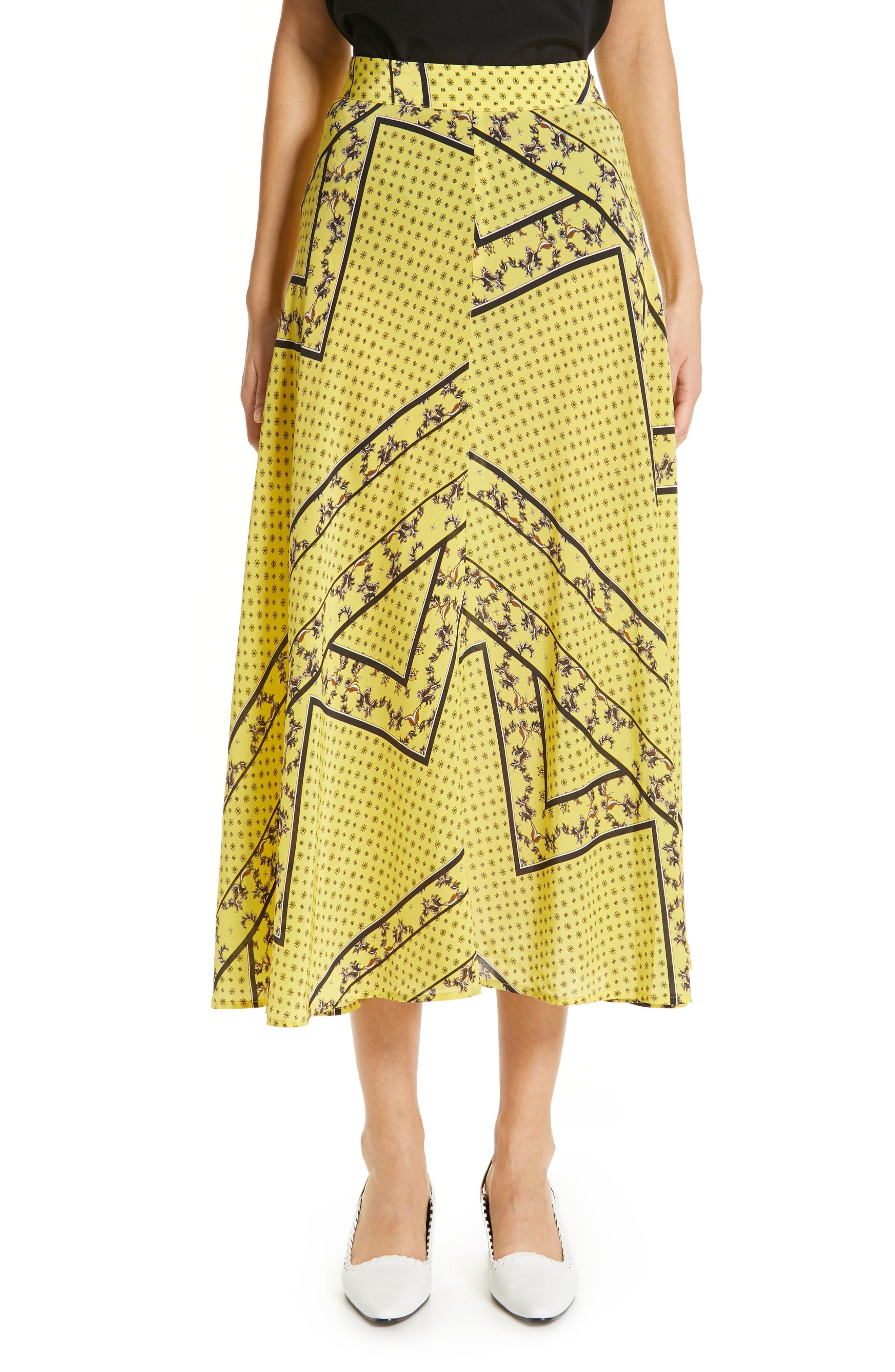 8d5836525 Ganni Paisley & Floral Print A-Line Midi Skirt In Yellow | ModeSens