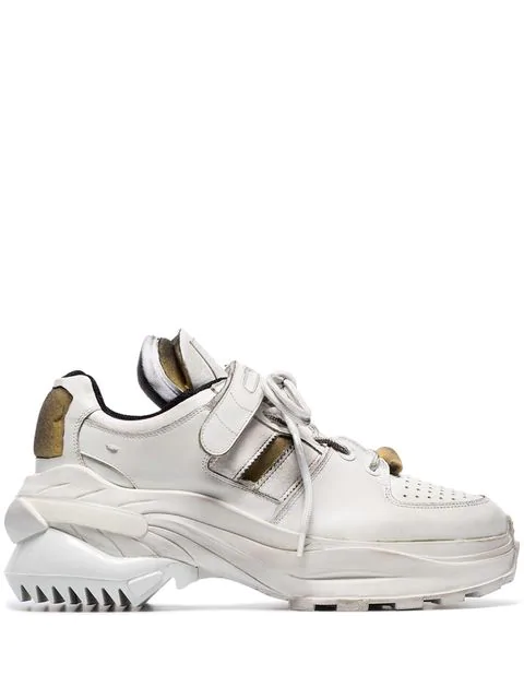 Maison Margiela White Artisanal Leather Low Top Sneakers In T1003 White/ White Linin
