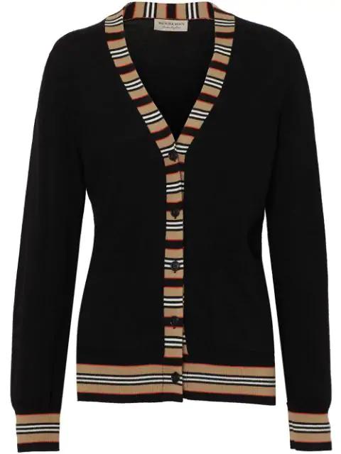 Burberry Icon Stripe Detail Merino Wool Cardigan In A1189 Black