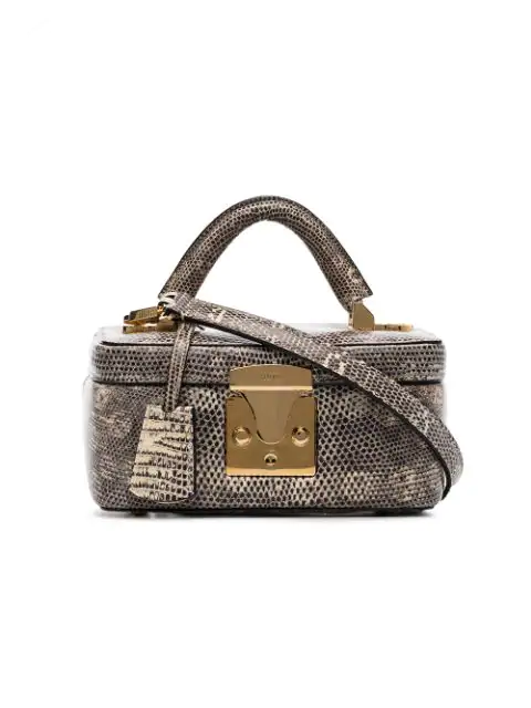 Stalvey Taupe Lizard Skin Box Bag In Nude