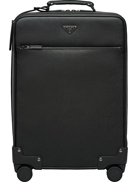 Prada Saffiano Leather Wheeled Carry-On In F0002 Black