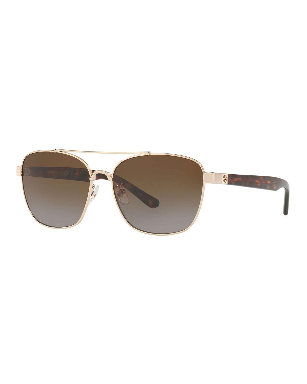 f1c0feb7e2e6 Tory Burch 57Mm Polarized Gradient Navigator Sunglasses - Gold/ Brown  Gradient