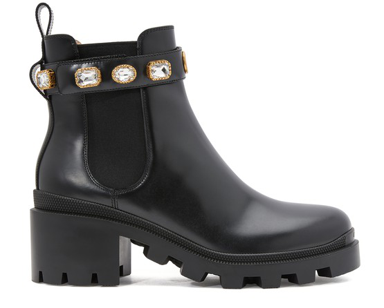 Gucci Leather Ankle Boot With Belt In Black