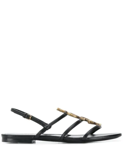 Saint Laurent Cassandra Open Sandals In Smooth Leather With Gold-toned Bamboo Logo In 1000 Black