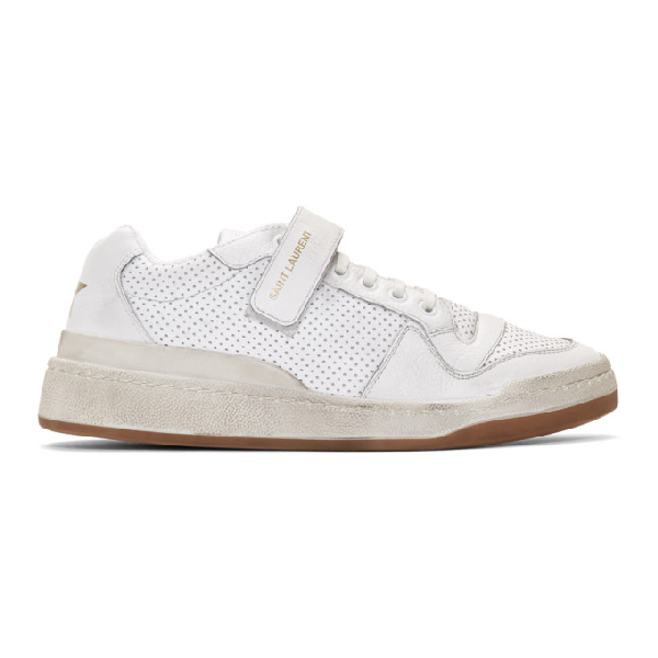 "Saint Laurent ""travis"" White Perforated Sneakers With Velcro Fastening In 9030 White"
