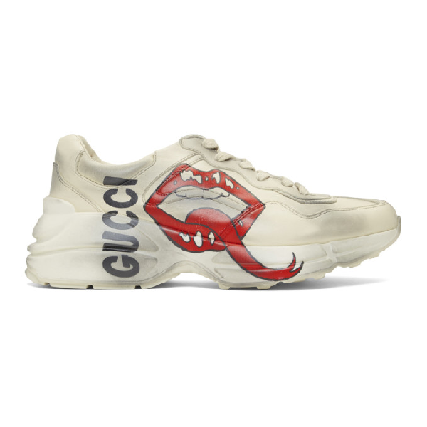 Gucci Rhyton Sneaker With Mouth Print - 中性色 In White