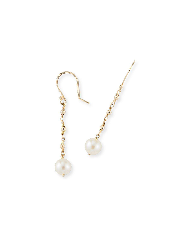 Mizuki 14k Gold Single Pearl Drop Earrings