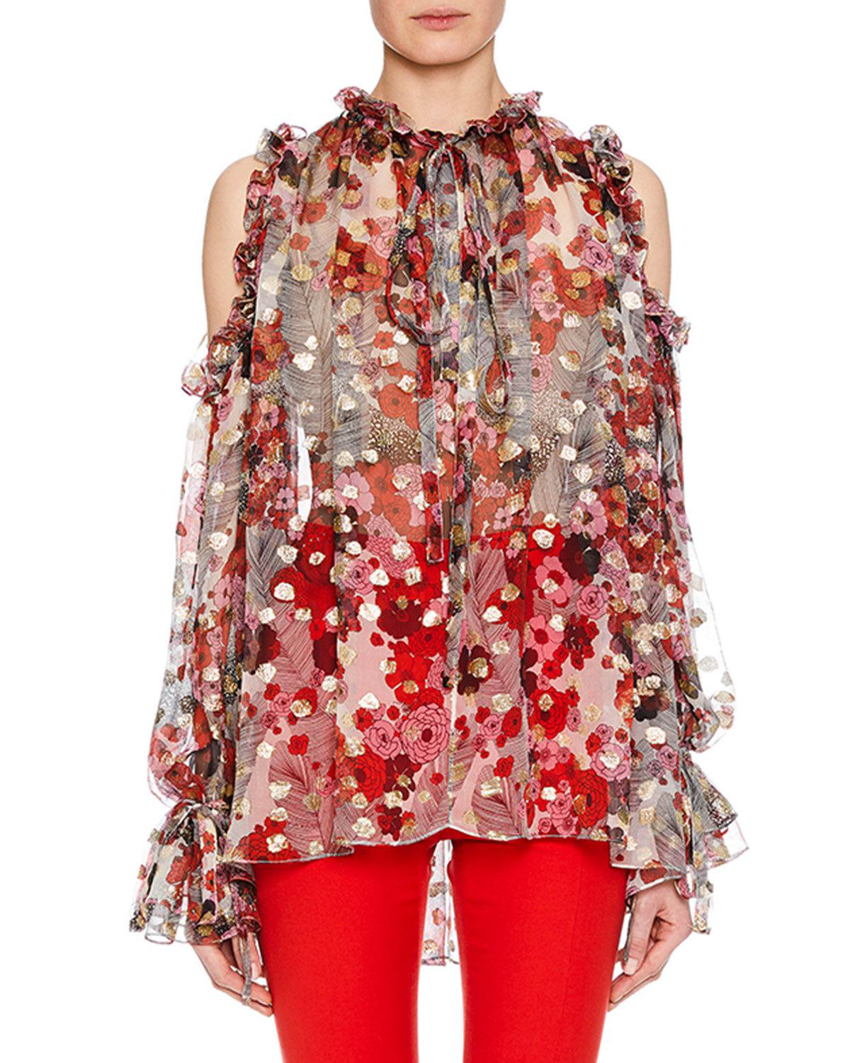 c5aa547d4b771 TIE-NECK COLD-SHOULDER FEATHER-FLOWER FIL COUPE TUNIC W  RUFFLED TRIM. Alexander  McQueen sheer blouse ...