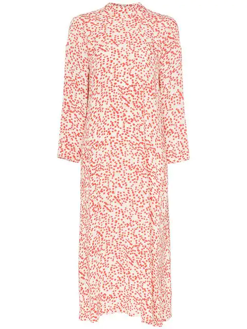 Ganni Goldstone Floral Print Crepe Dress In White