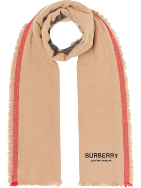 Burberry Icon Stripe Wool Cashmere Scarf In Brown
