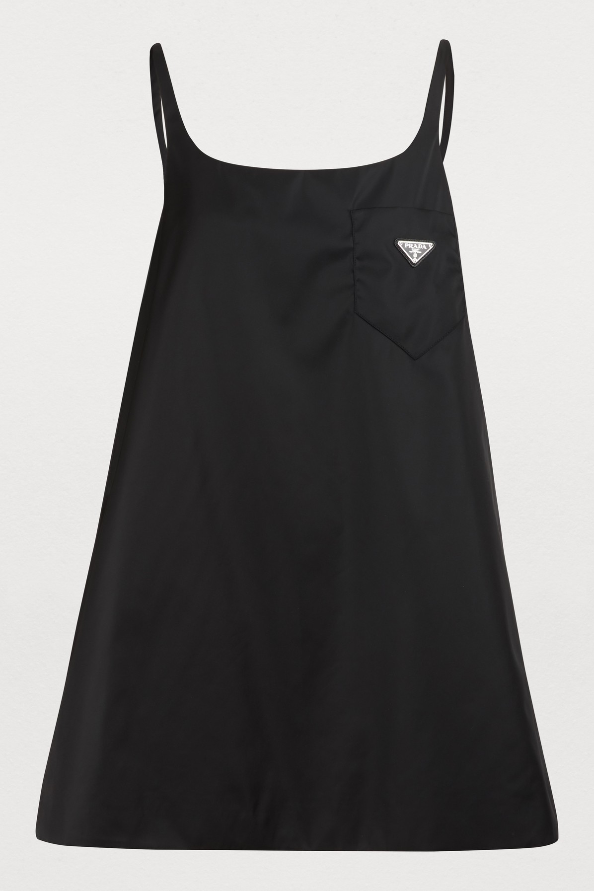 6e8652f2e74c Prada Patch-Pocket Technical-Satin Mini Dress In Black | ModeSens