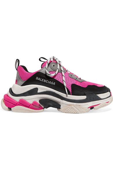 Balenciaga Triple S Logo-Embroidered Leather, Nubuck And Mesh Sneakers In 6470 Fluo Pnk/Grey/White