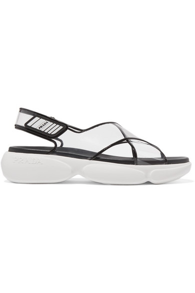 Prada Logo-embossed Rubber-trimmed Leather And Pvc Sandals In Black