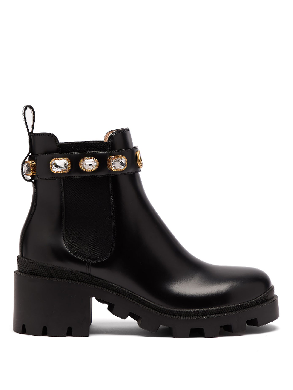 Gucci Trip Embellished Leather Chelsea Boots In Black